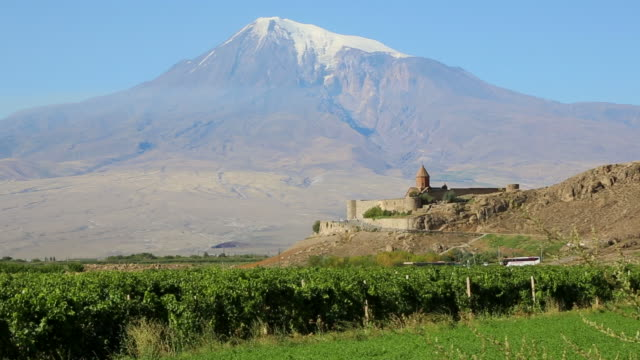 Khor Virap monastery, the church and the mount Ararat in the background