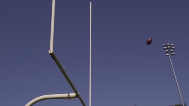 Kicking a football through a field goal post