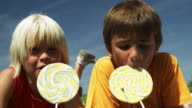 Kids eating Lollies (Shot on Red)