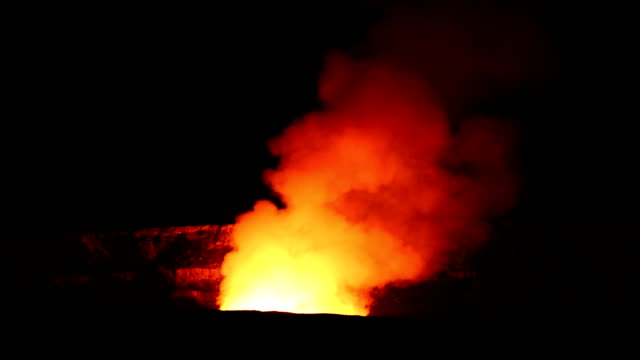 Kilauea Fumarole at night. HD - Halemaʻumaʻu