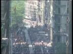 Kim Il Sung calls for more dialogue EXT Illinois Chicago GV Street as tickertape falling