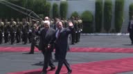 King Abdullah II of Jordan is welcomed by Palestinian President Mahmoud Abbas with a military welcoming ceremony in the West Bank city of Ramallah on...