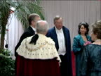 King Abdullah of Saudi Arabia state visit Guildhall state banquet Prince Andrew Duke of York arrival as greeted by Lord Mayor and playing of national...