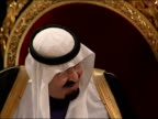 King Abdullah of Saudi Arabia state visit Guildhall state banquet General views and close ups of of King Abdullah and the Lord Mayor chatting via an...