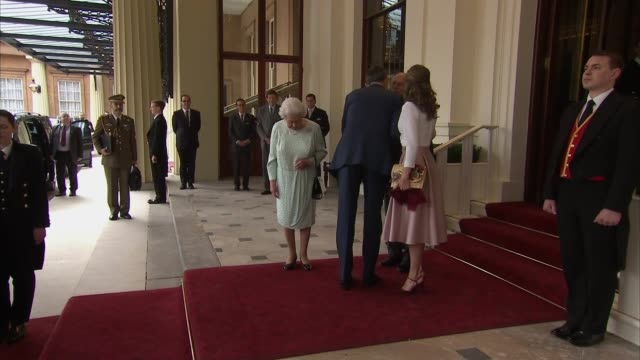 Buckingham Palace departure ENGLAND London Buckingham Palace EXT Queen Elizabeth II and Prince Philip Duke of Edinburgh down steps with King Felipe...