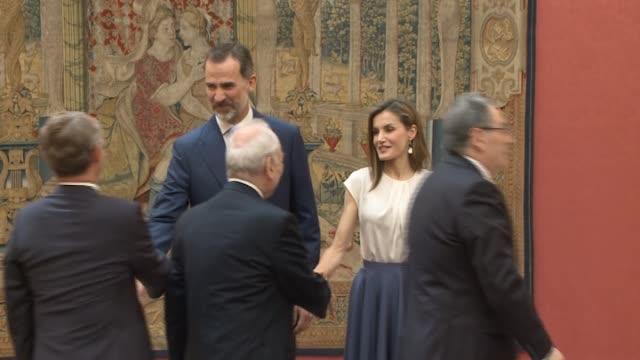 King Felipe VI of Spain and Queen Letizia of Spain attend meet the members of 'Princesa de Asturias Foundation' at El Pardo Royal Palace