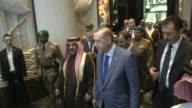 King Hamad bin Isa bin Salman Al Khalifa of Bahrain accompanies Turkish President Recep Tayyip Erdogan to Bahrain International Airport prior to his...