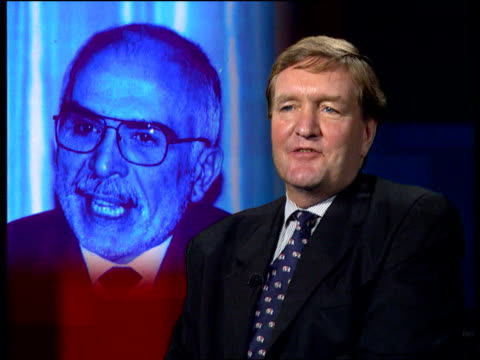 King Hussein of Jordan dead ITN London GIR Int Sir David GoreBooth interview SOT He sustained western power base because he could speak English...