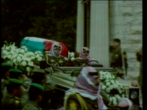 Funeral POOL JORDAN Amman EXT Coffin of King Hussein of Jordan draped in the Jordanian flag carried along by soldiers King Abdullah successor to King...