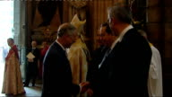 Westminster Abbey service ENGLAND London Westminster Abbey PHOTOGRAPHY** Various of Prince Charles Prince of Wales shaking hands and greeted by Rowan...