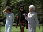King of Pop Michael Jackson sunglasses walking w/ United States First Lady Barbara Bush on the White House Rose Garden DC District of Columbia Artist...
