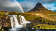 Kirkjufell mountain,Iceland with Rainbow