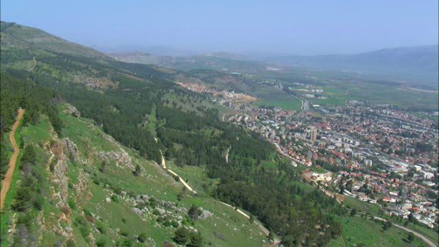 AERIAL Kiryat Shmona, city located on western slopes of Hula Valley on Lebanese border / Kiryat Shmona, Galilee, Israel