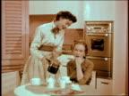 Kitchen, two women having coffee.