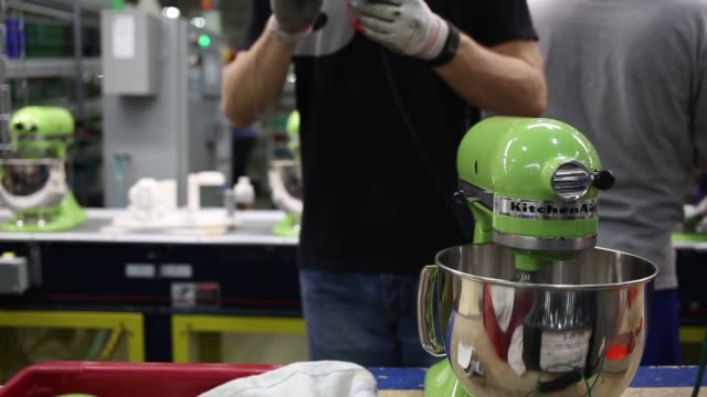 KitchenAid brand stand mixers and other kitchen appliances are assembled at the Whirlpool Corp KitchenAid plant in Greenville Ohio US on Thursday...