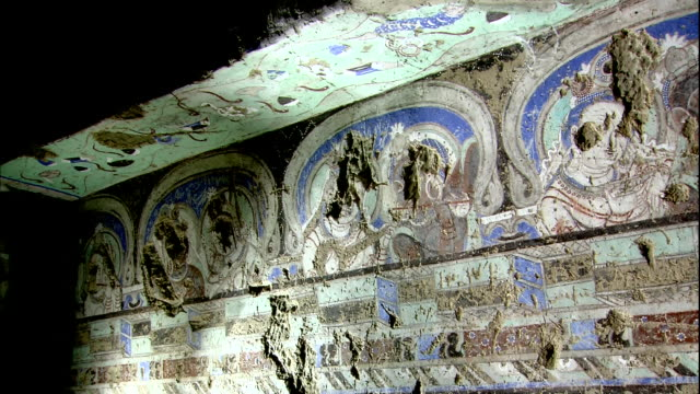 Kizil Caves The 38th Cave Destroyed murals Apsara Zoom In