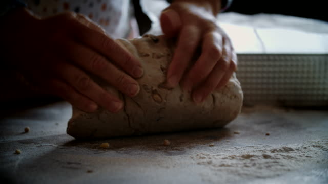 Kneading Loaf of Bread with Hands