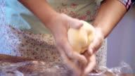 Kneeding Dough for Preparing Homemade Pasta