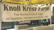 Knoll Krest farm stand at Union Square Farmers Market / eggs / hormone antibiotic free poultry and eggs Knoll Krest Farm Stand on May 23 2012 in New...