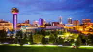 Knoxville, Tennessee City Skyline Day to Night Time Lapse