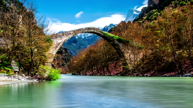 Konitsa bridge and Aoos River, Greece.