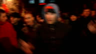 Kosovo celebrates declared independence from Serbia * * Music heard during the following shots SOT * * Various of crowd of ethnic Albanians in street...