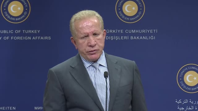 Kosovo Foreign Minister Behgjet Pacolli speaks at a joint press conference with Turkish Foreign Minister Mevlut Cavusoglu following their meeting in...