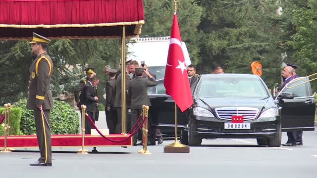 Kosovo Security Force Commander lieutenant general Rrahman Rama is welcomed by Turkish Chief of General Staff Gen Hulusi Akar at Turkish General...