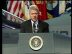 Serbia Captured US Soldiers/Continued Bombing/Refugees US USA Virginia Norfolk Naval Base President Bill Clinton speech SOT Milosevic should make no...