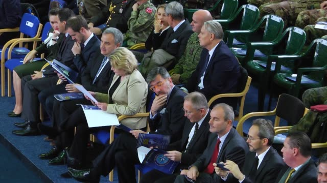 Kosovo's President Hashim Thaci Italian Major General Salvatore Cuoci and Italian Major general Giovanni Fungo attend the COMKFOR change of command...