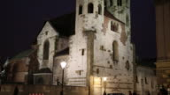 Krakow, night view of Fortress Church of St Andrew