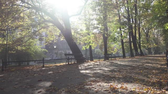 Krakow park on a sunny day of Autumn