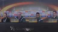 Krasnodar's head coach Igor Shalimov and defender Cristian Ramirez attend a press conference the day before the UEFA Europa League Round of 32 first...
