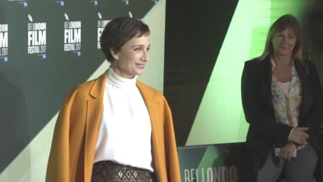 Kristin Scott Thomas at 'The Party' UK Premiere 61st BFI London Film Festival at Embankment Gardens Cinema on October 10 2017 in London England