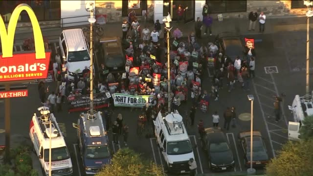 Aerial View Fast Food Workers Strike in Los Angeles as part of a continuing campaign for a $15an hour minimum wage