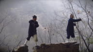 Kung Fu Master Wu and his western Disciple showing of their skills on ancient wall in wudangshan mountains.