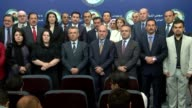 Kurdish lawmakers from the Kurdistan Democratic Party the Kurdish Yekiti Party and the Kurdistan Islamic Union attend a press conference in Baghdad...
