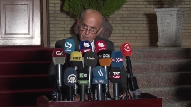 Kurdish Movement for Change Party spokesman Shorsh Haji holds a press conference in Sulaymaniyah Iraq on October 22 2017 The Gorran party on Sunday...