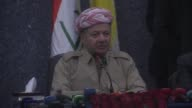 Kurdish Regional Government President Masoud Barzani speaks at a meeting with ethnic and religious groups based in Kirkuk Iraq on September 12 2017...