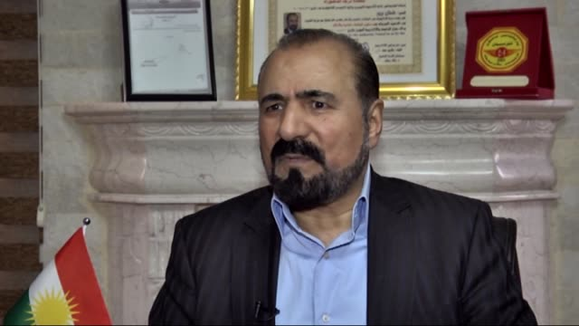 Kurdish wellknown musician and poet Sivan Perwer speaks to the media at his home in Erbil Iraq on February 02 2016 Perwer strongly condemned the...