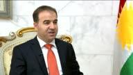 Kurdistan calls for British help in war against Islamic State Hawrami interview IRAQ Erbil INT ITN reporter Mark Austin sitting with Hemen Hawrami...