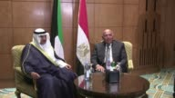Kuwaiti Foreign Minister Sheikh Sabah al Khaled al Sabah met on Monday with his Egyptian counterpart Sameh Shoukry in the Egyptian capital Cairo