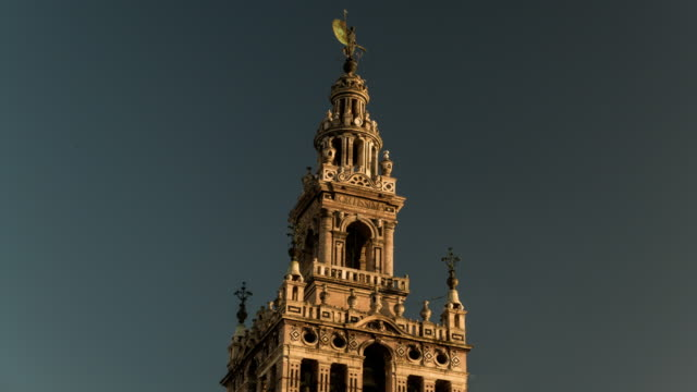 la giralda cathedral close up view with fortissima words timelapse