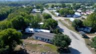La Grange, Texas kleine stad Gulf Coast schade zone van Orkaan Harvey Path of Destruction. Kijkt neer op de vernietiging en reckage hieronder