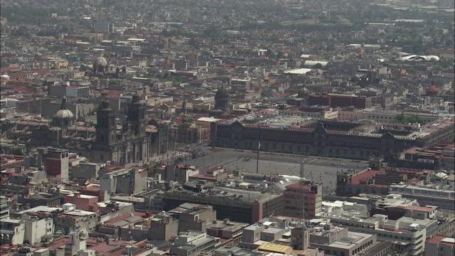 AERIAL, La Plaza de la Constitucion with Metropolitan Cathedral and National Palace, Mexico City, Mexico
