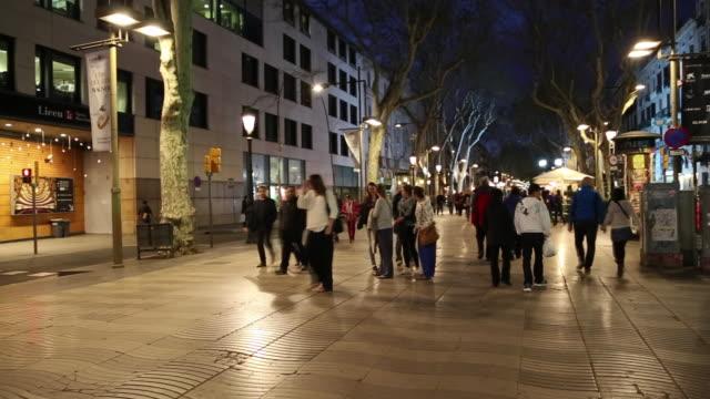 La Rambla Street People Walking At Night Barcelona Spain ...