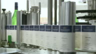 MS Lable of champagne bottles on production line / Ayl, Rhineland-Palatinate, Germany