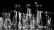 Laboratory Glassware on Black