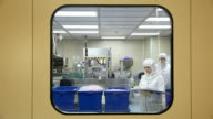 Laboratory technicians working in clean room