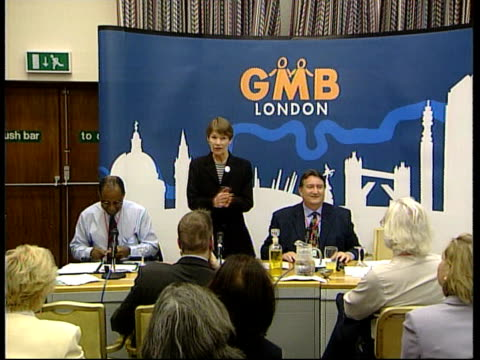 Labour candidates make pitches ITN ENGLAND London INT GV Labour party candidates for Mayor of London Ken Livingston Glenda Jackson and TV presenter...